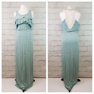 Mint Green Grey Striped Maxi Dress Crocheted Back